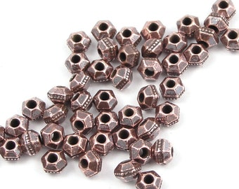 50 Antique Copper Beads 3mm Faceted Bicone Copper Spacer Beads TierraCast Pewter Heishi Beads (PS125)