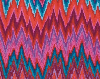 Kaffe Fassett Flame Stripe Red SATEEN Fabric 1 yard