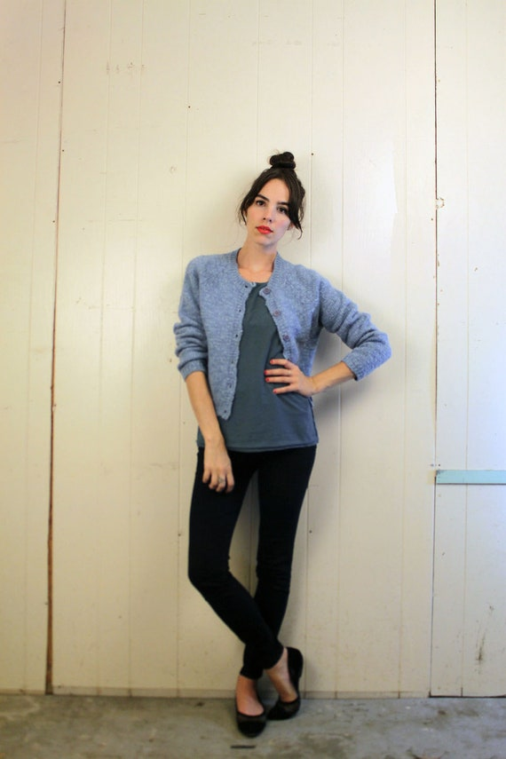 1990s Blue Wool Cardigan Size S