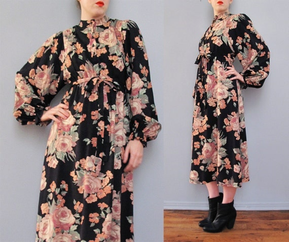 1970s black floral cotton bishop sleeve mid length dress XS S