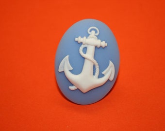Large Light Blue Anchor Cameo Ring