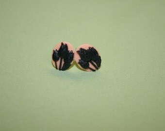 Tiny Black and Pink Tulips Cameo Earrings
