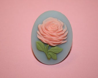 Large Pink Flower Cameo Ring