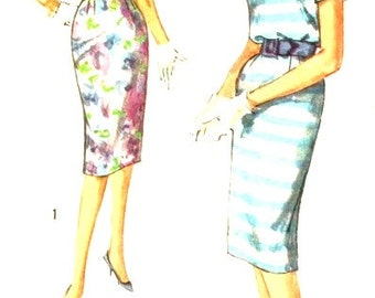 Vintage 1950s Misses Simple to Make Blouson Dress and Belt Size 12 Simplicity 2914 Sewing Pattern 50s
