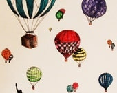 Hot Air Balloons Over New York City Illustration  Print