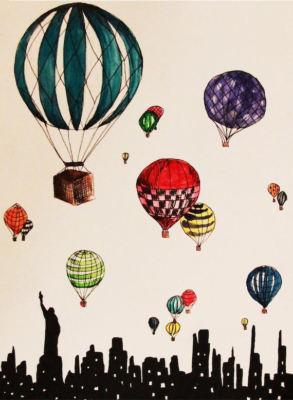 Hot Air Balloons Over New York City Illustration Print