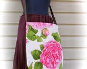 Cross body bag Messenger Bag, Over the shoulder bag Handmade tote unique romantic flowers  SPECIAL PRICE from 39.00 to 19.50