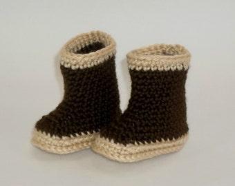 NEWBORN Baby  Booties  Rain Boots Alaskan Xtra Tuffs Style Crochet