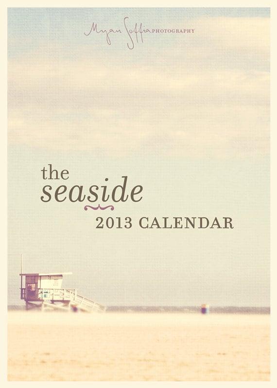2013 beach calendar, California Oregon seaside west coast ocean palm tree lifeguard stand seagull, ferris wheel, surfers, travel photo, sale