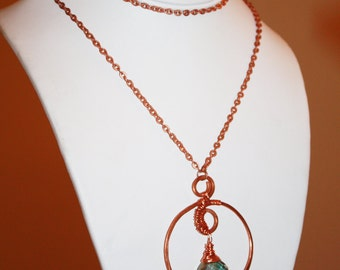 Long Hammered Copper Necklace, Wire Wrapped with Faceted Crystal, One of a Kind, SALE 30% OFF