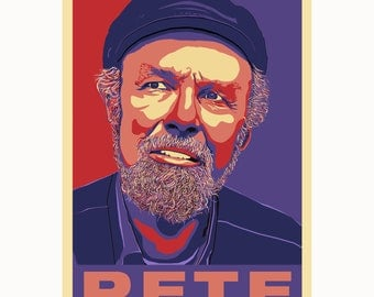 PETE SEEGER -  Folksinger, Activist, American Icon - a poster by Atelier Bagatelle