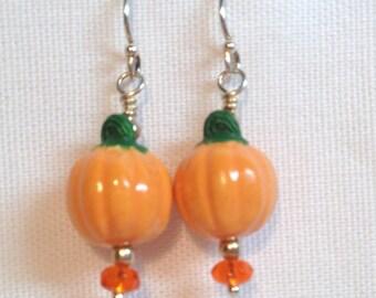 Ceramic Pumpkin Earrings