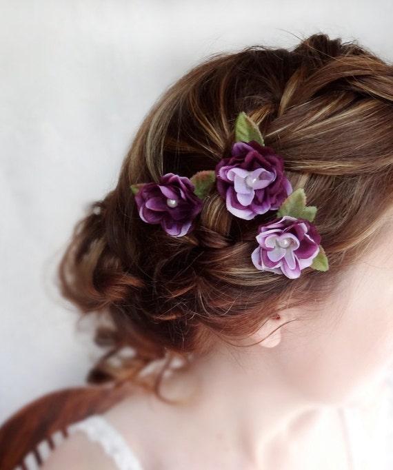 Lavender Flower Hair Wedding Style: Items Similar To Eggplant Flower Hair Accessory, Purple