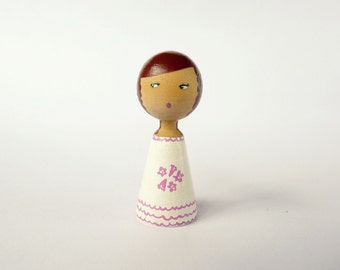 Custom Child Portrait Doll - OOAK - Personalized - Wooden hand painted white girl flower pink