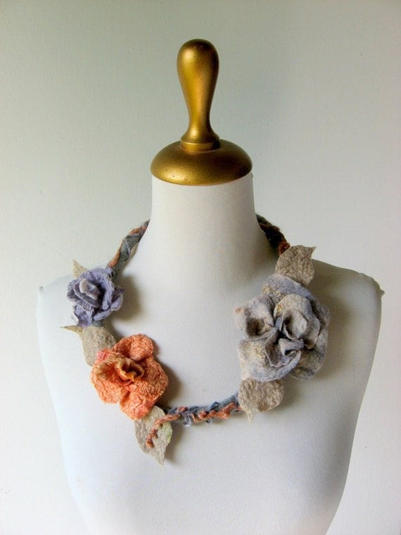 Statement  Necklace Felted Peach, Grey, Bronze, Lilac