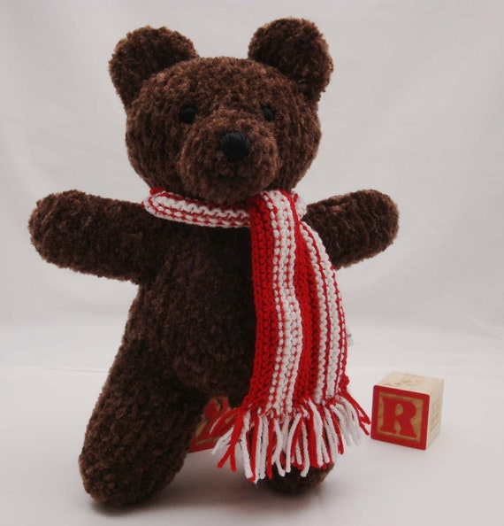 Knitting Pattern For Teddy Bear Scarf : Classic Teddy Bear with Candy Cane Scarf by DesignsByChristianna