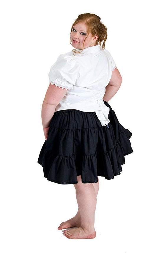 Plus Size Lolita Petticoat Skirt - Steampunk Pirate - Tiered Black cotton- Custom to your size 2xl, 3xl, 4xl, 5xl