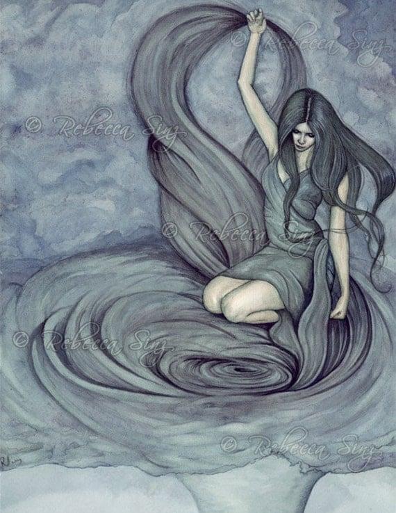 Tornado PRINT Storm Goddess Weather Fantasy Art Nature Green Clouds Watercolor Power 3 SIZES