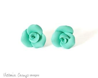 Small Aqua Rose Earrings, Sterling Silver, Posts, Mermaid Green, Teal, Seafoam Green, Wedding, Bridal, Handformed, Tiny, Petite, Flower