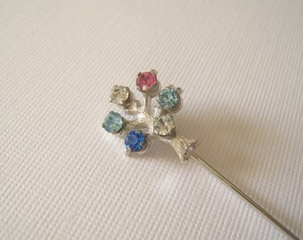 Vintage Anson Sterling and Rhinestone Tree of Life Stick Lapel Pin