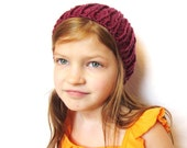 pink knit hat, super stretchy, fits toddlers, kids, teens, adults - raspberry, all natural fibers, washable wool, ready to ship