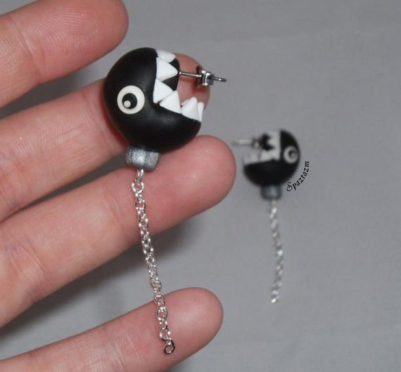 Chain Chomp earrings The original As seen on G4 AOTS Mario Bad Guy IN STOCK