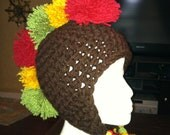 Rasta Pompom Mohawk Earflap Hat