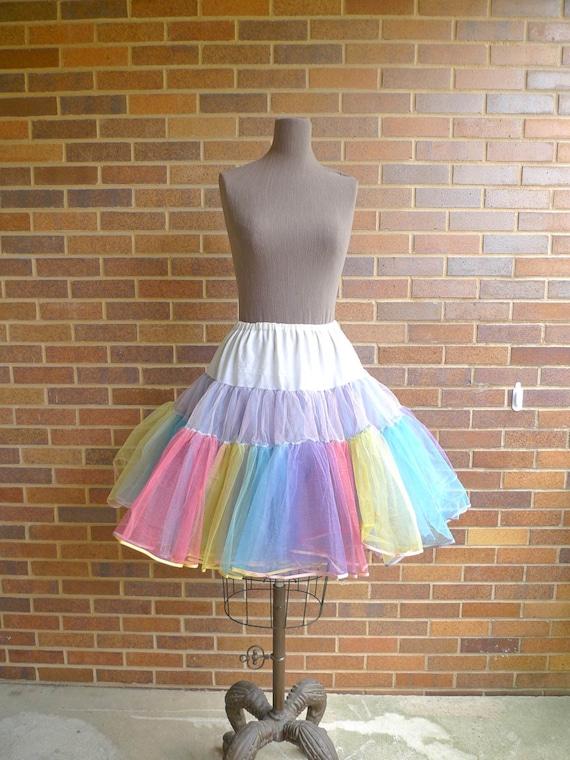 Vintage 1950's Crinoline - Stunningly Colorful Carnival Candy Multicolored Swing Petticoat Crinoline - sz S-M-L