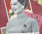 Original Collage Art Vintage Style Whimsical Small Word Art Handmade On Easel Red 1940s Woman :  But What If She Did
