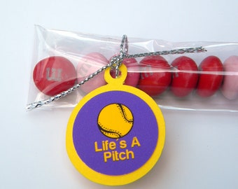 Baseball Candy Treat Bag Favors - Yellow and Purple, Life's A Pitch, Set of 12