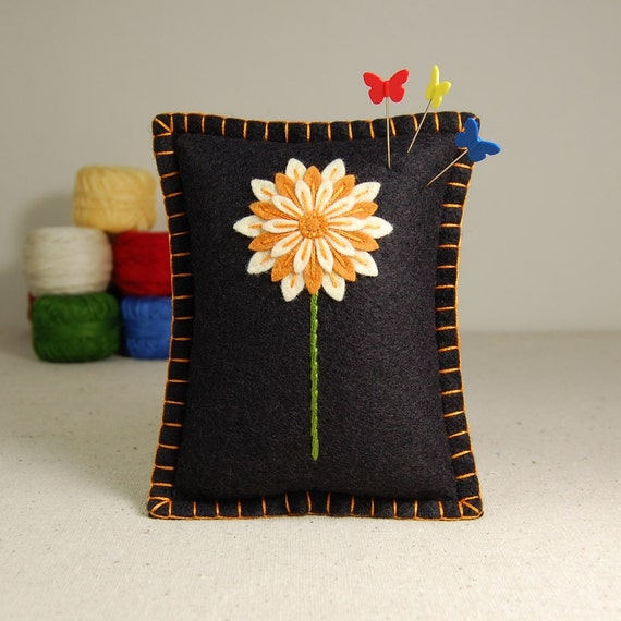 Flower Pincushion / Small Pillow - Orange & Ivory Daisy Hand Embroidered on Black Wool Felt