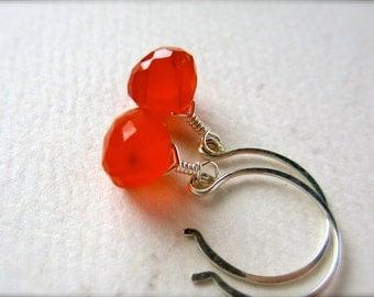 blood orange earrings - carnelian gemstone earrings, sterling silver, grapefruit citrus, handmade