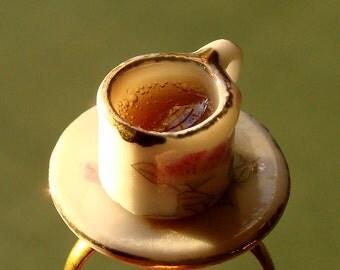 Miniature Teacup Adjustable Ring - Tiny Rose Tea Cup