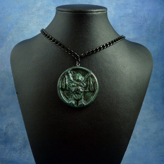Dark Green the Hound Amulet Necklace with Chain, Polymer Clay Jewelry