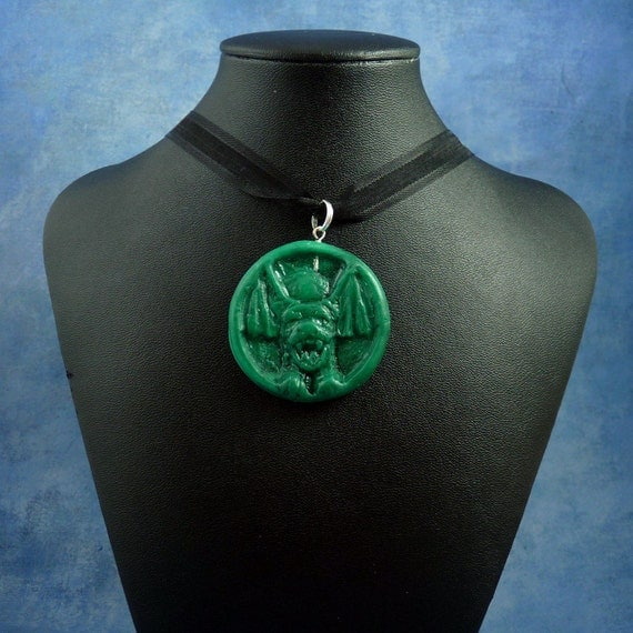 """Jade """"the Hound"""" Amulet Necklace, Polymer Clay Jewelry"""