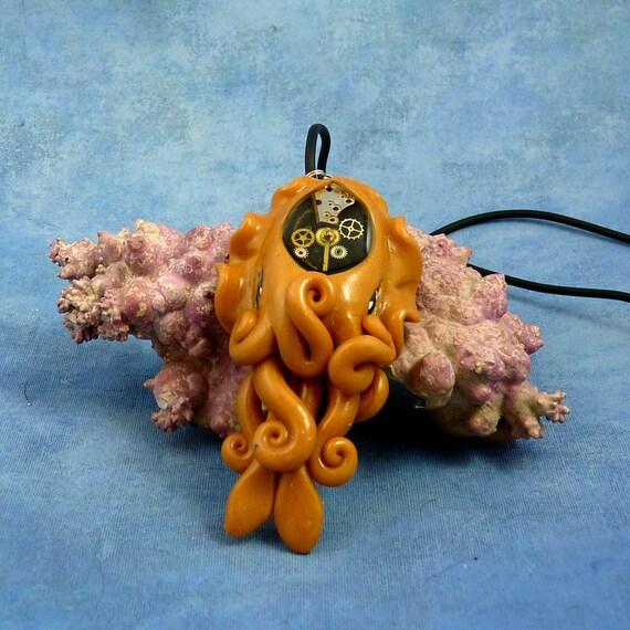 Brass Steampunk Cuttlefish Necklace, Polymer Clay Cephalopod Jewelry