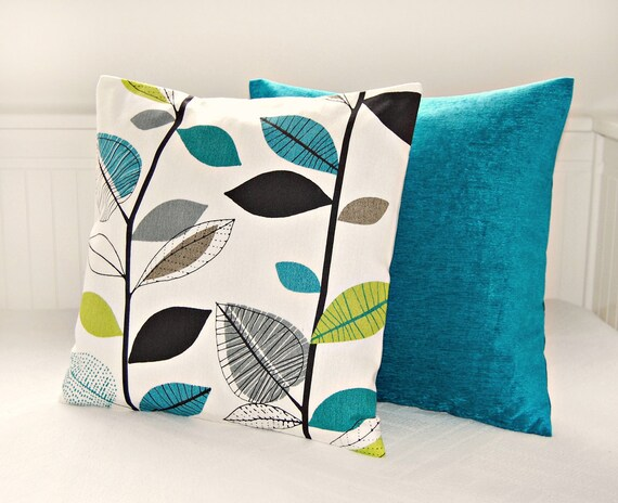 items similar to pair of pillow covers teal blue lime. Black Bedroom Furniture Sets. Home Design Ideas