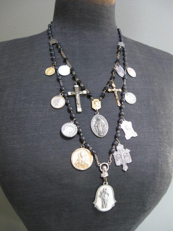 Gothic Catholic Medallion Assemblage Necklace with Salvaged Rosary Beads - Revelation
