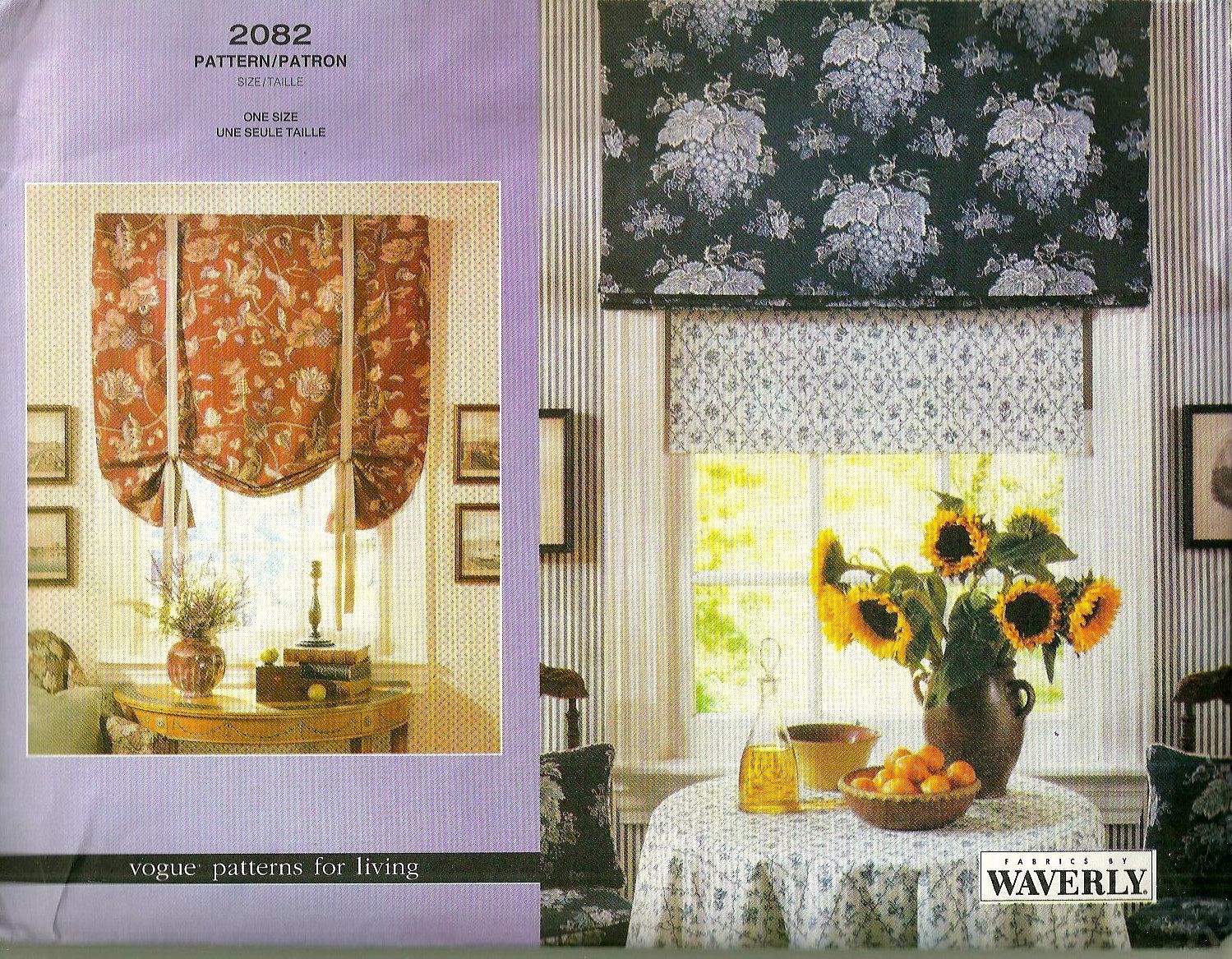 Vogue 2082 roman shades pattern home decor window treatment for Professional window treatment patterns