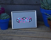 3 Isometric Cubes- Framed Original Painting