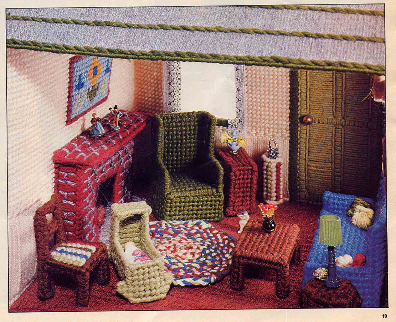 Vintage Plastic Canvas Dollhouse Pattern Charming Cottage And