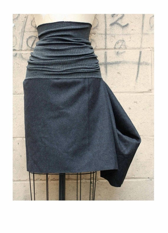 SALE SKIRT Autumn Fashion Black Wool Felt and Gray Rib Knit Skirt Small