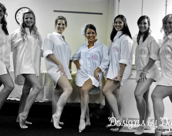 Monogrammed Bridal Party Oversized Shirts with Personalized Cuffs
