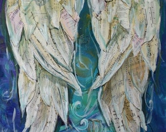 Angel wings painting   Custom order a mixed  media on canvas 16 x 20 inches  40x50 cm