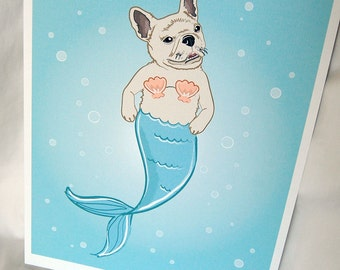 French Bulldog Mermaid in Cream - Eco-Friendly 8x10 Print