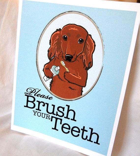 Brush Your Teeth Red Dachshund - 8x10 Eco-friendly Print