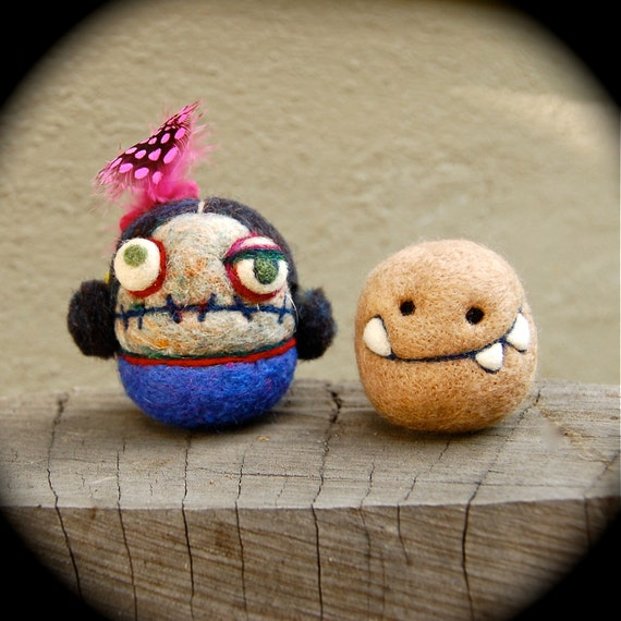 Fancy Zombie Girl and Her Pet Potato Monster  OOAK Ready to Ship