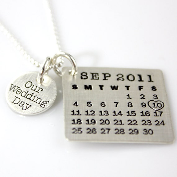 Our Wedding Day Mark Your Calendar necklace - hand stamped and personalized sterling silver necklace