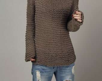Hand knit woman sweater chocolate Eco sweater oversized mocha -ready to ship