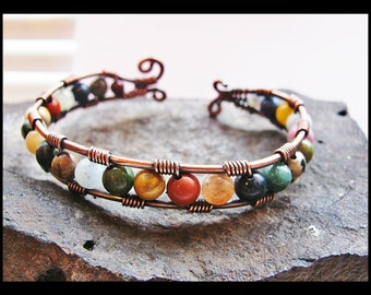 Copper Wire Wrapped Cuff Bracelet with Mixed Gemstone